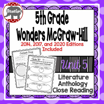 Wonders McGraw Hill 5th Grade Close Reading (Literature Anthology Book) - Unit 5