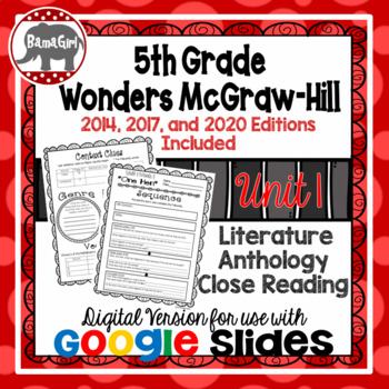 Wonders McGraw Hill 5th Grade Close Reading Literature Anthology Unit 1 DIGITAL
