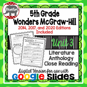 Wonders McGraw Hill 5th Grade Close Reading Literature Anthology Unit 3 DIGITAL