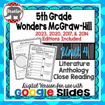 Wonders McGraw Hill 5th Grade Close Reading Literature Anthology Unit 4 DIGITAL