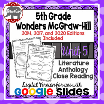 Wonders McGraw Hill 5th Grade Close Reading Literature Anthology Unit 5 DIGITAL