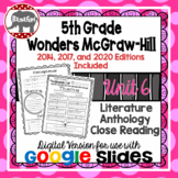 Wonders McGraw Hill 5th Grade Close Reading Literature Anthology Unit 6 DIGITAL