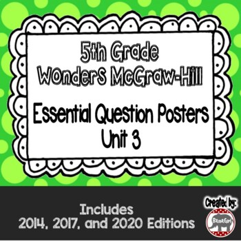 Wonders McGraw Hill 5th Grade Essential Question Posters - Unit 3