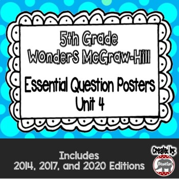 Wonders McGraw Hill 5th Grade Essential Question Posters - Unit 4
