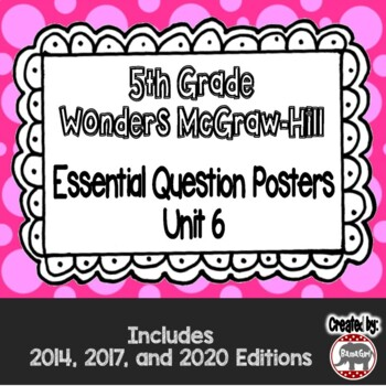 Wonders McGraw Hill 5th Grade Essential Question Posters - Unit 6