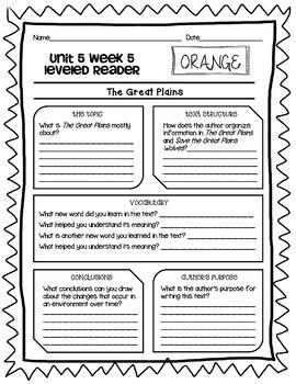 Wonders McGraw Hill 5th Grade Leveled Readers Thinkmark - Unit 5