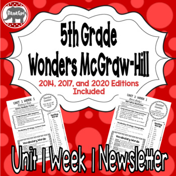 Wonders 2020 2017 2014 McGraw Hill 5th Grade Newsletter Unit 1 Week 1