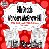 Wonders McGraw Hill 5th Grade Newsletter/Study Guide - Unit 1 (Weeks 1-5)