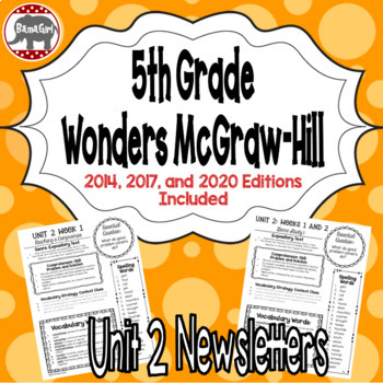 Wonders McGraw Hill 5th Grade Newsletter/Study Guide - Unit 2 (Weeks 1-5)