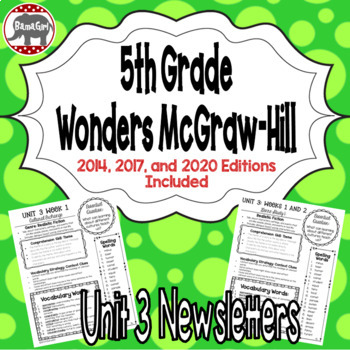 Wonders McGraw Hill 5th Grade Newsletter/Study Guide - Unit 3 (Weeks 1-5)