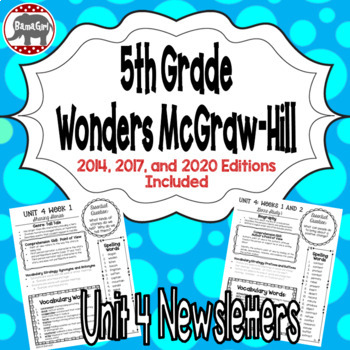 Wonders McGraw Hill 5th Grade Newsletter/Study Guide - Unit 4 (Weeks 1-5)