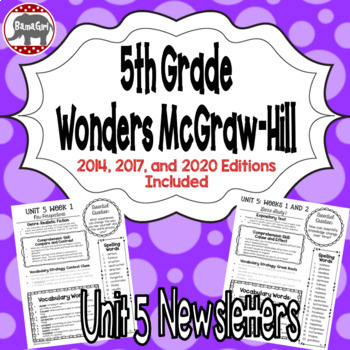Wonders McGraw Hill 5th Grade Newsletter/Study Guide - Unit 5 (Weeks 1-5)