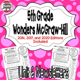 Wonders McGraw Hill 5th Grade Newsletter/Study Guide - Unit 6 (Weeks 1-5)
