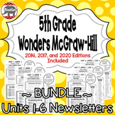 Wonders 2020, 2017, 2014 McGraw Hill 5th Grade Newsletters Units 1-6 **Bundle**