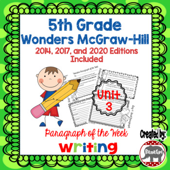 Wonders McGraw Hill 5th Grade Paragraph of the Week - Unit 3