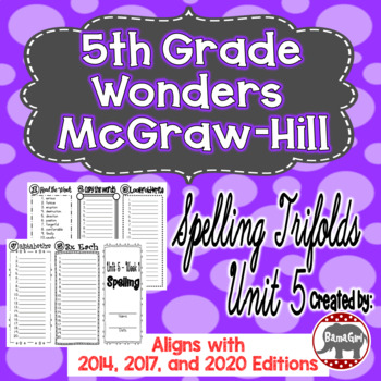 Wonders McGraw Hill 5th Grade Spelling Trifolds - Unit 5
