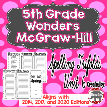Wonders McGraw Hill 5th Grade Spelling Trifolds - Unit 6