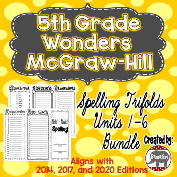 Wonders McGraw Hill 5th Grade Spelling Trifolds - Units 1-
