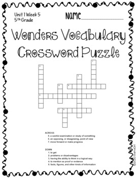 Wonders McGraw Hill 5th Grade Vocabulary Crossword Puzzles - Unit 1