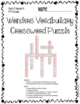 Wonders McGraw Hill 5th Grade Vocabulary Crossword Puzzles - Unit 2