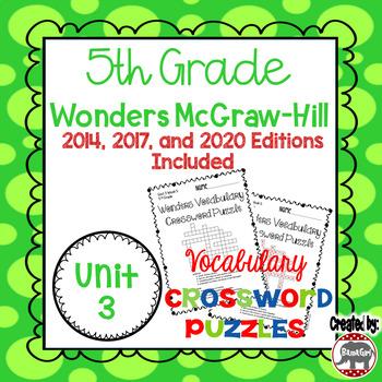 Wonders McGraw Hill 5th Grade Vocabulary Crossword Puzzles - Unit 3