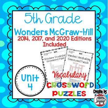 Wonders McGraw Hill 5th Grade Vocabulary Crossword Puzzles - Unit 4