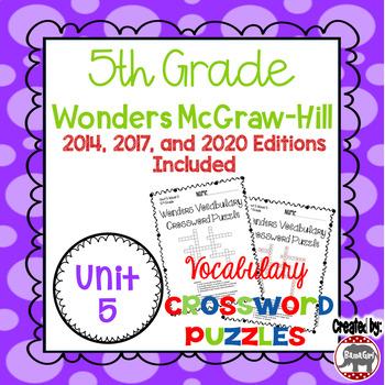 Wonders McGraw Hill 5th Grade Vocabulary Crossword Puzzles - Unit 5