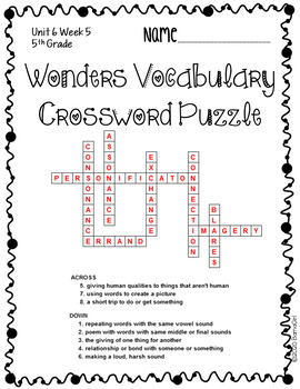 Wonders McGraw Hill 5th Grade Vocabulary Crossword Puzzles - Unit 6