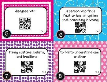 Wonders McGraw Hill 5th Grade Vocabulary QR Code Flashcards - Unit 3