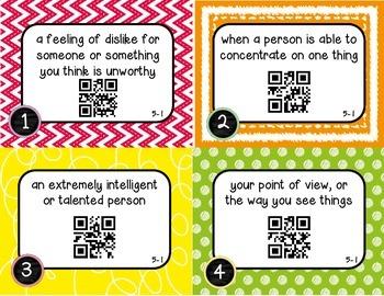 Wonders McGraw Hill 5th Grade Vocabulary QR Code Flashcards - Unit 5