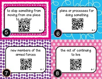 Wonders McGraw Hill 5th Grade Vocabulary QR Code Flashcards - Unit 6