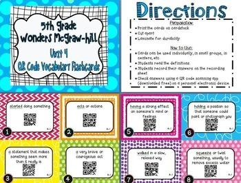 Wonders McGraw Hill 5th Grade Vocabulary QR Code Flashcards - Units 1-6 *Bundle*