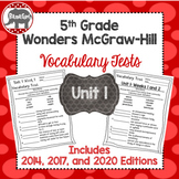 Wonders 2020, 2017, and 2014 McGraw Hill 5th Grade Vocabulary Tests - Unit 1