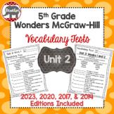 Wonders 2020, 2017, 2014 McGraw Hill 5th Grade Vocabulary Tests - Unit 2