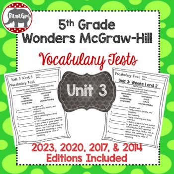 Wonders McGraw Hill 5th Grade Vocabulary Tests - Unit 3