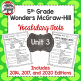 Wonders McGraw Hill 5th Grade Vocabulary Tests - Unit 3