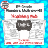 Wonders McGraw Hill 5th Grade Vocabulary Tests - Unit 4