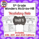 Wonders 2020, 2017, 2014 McGraw Hill 5th Grade Vocabulary Tests - Unit 5