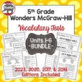 Wonders McGraw Hill 5th Grade Vocabulary Tests - Units 1-6 **Bundle**