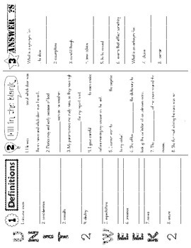 Wonders McGraw Hill 5th Grade Vocabulary Trifold - Unit 2 (Weeks 1-5)