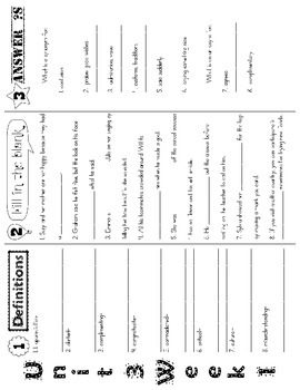 Wonders McGraw Hill 5th Grade Vocabulary Trifold - Unit 3