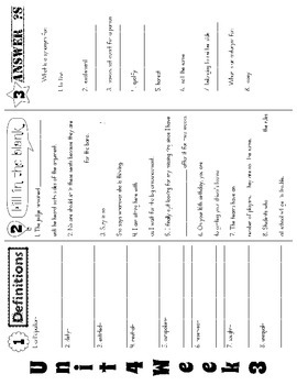 Wonders McGraw Hill 5th Grade Vocabulary Trifold - Unit 4 (Weeks 1-5)