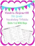 Wonders McGraw Hill 5th Grade Vocabulary Trifold - Units 1-6