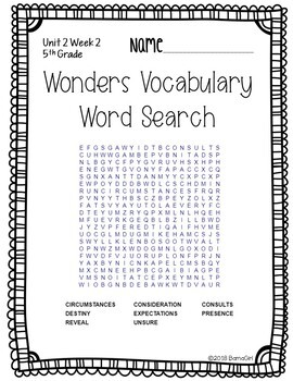 Wonders McGraw Hill 5th Grade Vocabulary Word Search Puzzles - Unit 2