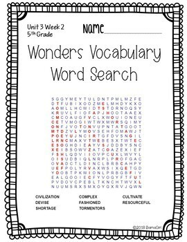 Wonders McGraw Hill 5th Grade Vocabulary Word Search Puzzles - Unit 3