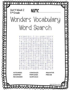 Wonders McGraw Hill 5th Grade Vocabulary Word Search Puzzles - Unit 4