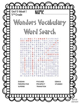 Wonders McGraw Hill 5th Grade Vocabulary Word Search Puzzles - Unit 5