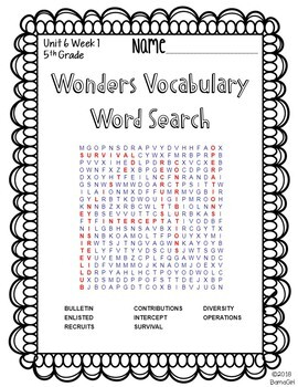 Wonders McGraw Hill 5th Grade Vocabulary Word Search Puzzles - Unit 6