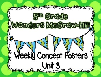 Wonders McGraw Hill 5th Grade Weekly Concept Posters - Unit 3