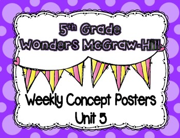 Wonders McGraw Hill 5th Grade Weekly Concept Posters - Unit 5